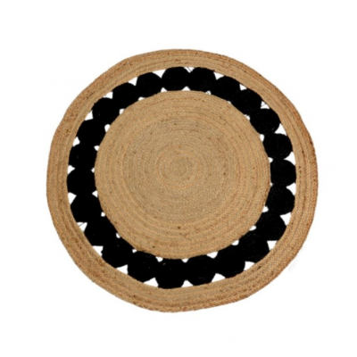 Tapis Rond Pompons Noirs
