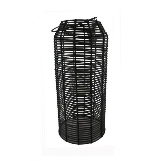 Lanterne Rotin Noir Grand format