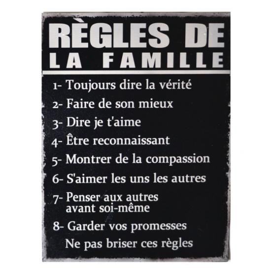 Affiche Métal Règles De La Famille