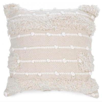 Coussin Beige & Blanc Texturé