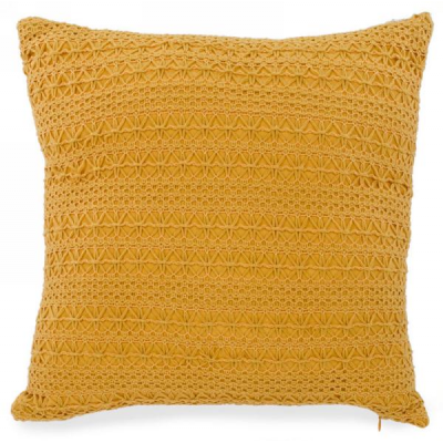 Coussin Jaune Tricot