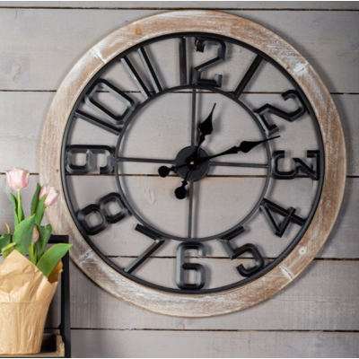 Horloge Métal Et Bois