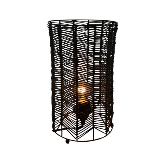 Lampe De Table Ronde Rotin Noir
