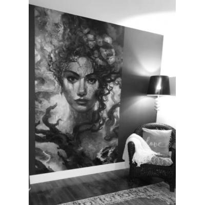 Murale Déesse De La Nature Noir Et Blanc